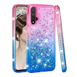Diamond Frame Liquid Glitter Quicksand Sequins Phone Case for Huawei Nova 5 / Nova 5 Pro - Pink Blue