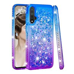 Diamond Frame Liquid Glitter Quicksand Sequins Phone Case for Huawei Nova 5 / Nova 5 Pro - Blue Purple