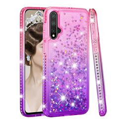 Diamond Frame Liquid Glitter Quicksand Sequins Phone Case for Huawei Nova 5 / Nova 5 Pro - Pink Purple