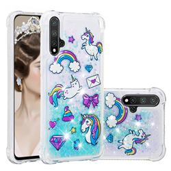 Fashion Unicorn Dynamic Liquid Glitter Sand Quicksand Star TPU Case for Huawei Nova 5 / Nova 5 Pro