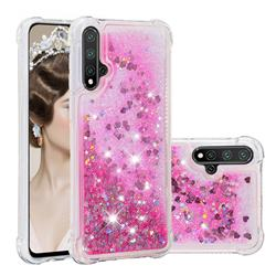 Dynamic Liquid Glitter Sand Quicksand TPU Case for Huawei Nova 5 / Nova 5 Pro - Pink Love Heart