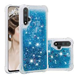 Dynamic Liquid Glitter Sand Quicksand TPU Case for Huawei Nova 5 / Nova 5 Pro - Blue Love Heart