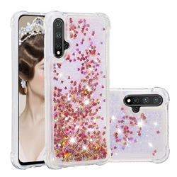 Dynamic Liquid Glitter Sand Quicksand TPU Case for Huawei Nova 5 / Nova 5 Pro - Rose Gold Love Heart
