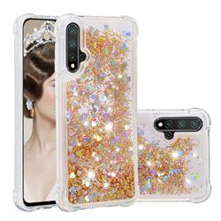 Dynamic Liquid Glitter Sand Quicksand Star TPU Case for Huawei Nova 5 / Nova 5 Pro - Diamond Gold
