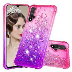 Rainbow Gradient Liquid Glitter Quicksand Sequins Phone Case for Huawei Nova 5 / Nova 5 Pro - Pink Purple