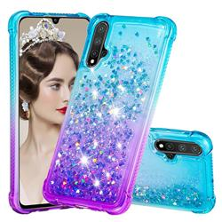 Rainbow Gradient Liquid Glitter Quicksand Sequins Phone Case for Huawei Nova 5 / Nova 5 Pro - Blue Purple