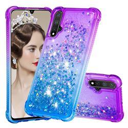 Rainbow Gradient Liquid Glitter Quicksand Sequins Phone Case for Huawei Nova 5 / Nova 5 Pro - Purple Blue