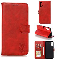 Embossing Happy Cat Leather Wallet Case for Huawei Nova 5 / Nova 5 Pro - Red