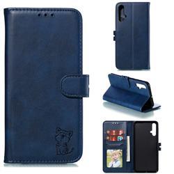 Embossing Happy Cat Leather Wallet Case for Huawei Nova 5 / Nova 5 Pro - Blue