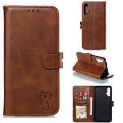 Embossing Happy Cat Leather Wallet Case for Huawei Nova 5 / Nova 5 Pro - Brown