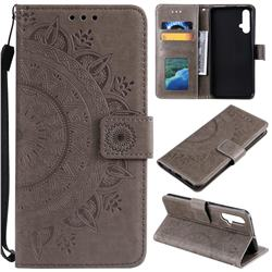 Intricate Embossing Datura Leather Wallet Case for Huawei Nova 5 / Nova 5 Pro - Gray
