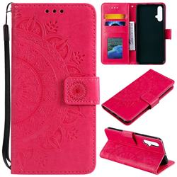 Intricate Embossing Datura Leather Wallet Case for Huawei Nova 5 / Nova 5 Pro - Rose Red
