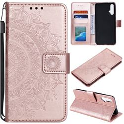 Intricate Embossing Datura Leather Wallet Case for Huawei Nova 5 / Nova 5 Pro - Rose Gold