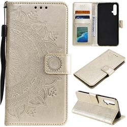 Intricate Embossing Datura Leather Wallet Case for Huawei Nova 5 / Nova 5 Pro - Golden
