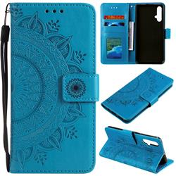 Intricate Embossing Datura Leather Wallet Case for Huawei Nova 5 / Nova 5 Pro - Blue