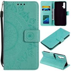 Intricate Embossing Datura Leather Wallet Case for Huawei Nova 5 / Nova 5 Pro - Mint Green