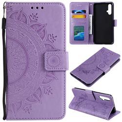 Intricate Embossing Datura Leather Wallet Case for Huawei Nova 5 / Nova 5 Pro - Purple