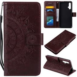 Intricate Embossing Datura Leather Wallet Case for Huawei Nova 5 / Nova 5 Pro - Brown