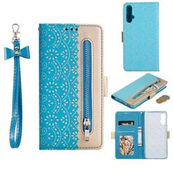 Luxury Lace Zipper Stitching Leather Phone Wallet Case for Huawei Nova 5 / Nova 5 Pro - Blue