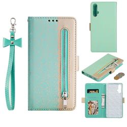 Luxury Lace Zipper Stitching Leather Phone Wallet Case for Huawei Nova 5 / Nova 5 Pro - Green
