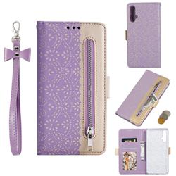 Luxury Lace Zipper Stitching Leather Phone Wallet Case for Huawei Nova 5 / Nova 5 Pro - Purple