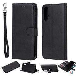 Retro Greek Detachable Magnetic PU Leather Wallet Phone Case for Huawei Nova 5 / Nova 5 Pro - Black