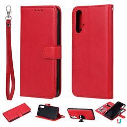 Retro Greek Detachable Magnetic PU Leather Wallet Phone Case for Huawei Nova 5 / Nova 5 Pro - Red