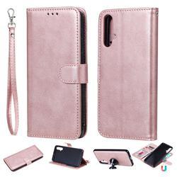 Retro Greek Detachable Magnetic PU Leather Wallet Phone Case for Huawei Nova 5 / Nova 5 Pro - Rose Gold