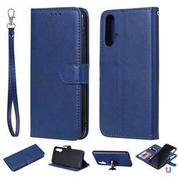 Retro Greek Detachable Magnetic PU Leather Wallet Phone Case for Huawei Nova 5 / Nova 5 Pro - Blue
