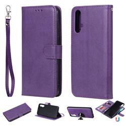 Retro Greek Detachable Magnetic PU Leather Wallet Phone Case for Huawei Nova 5 / Nova 5 Pro - Purple