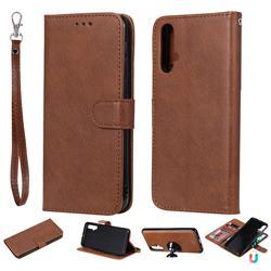 Retro Greek Detachable Magnetic PU Leather Wallet Phone Case for Huawei Nova 5 / Nova 5 Pro - Brown