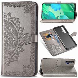 Embossing Imprint Mandala Flower Leather Wallet Case for Huawei Nova 5 / Nova 5 Pro - Gray