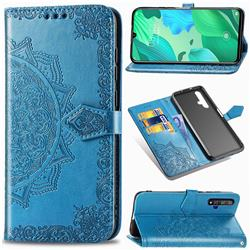 Embossing Imprint Mandala Flower Leather Wallet Case for Huawei Nova 5 / Nova 5 Pro - Blue