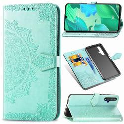 Embossing Imprint Mandala Flower Leather Wallet Case for Huawei Nova 5 / Nova 5 Pro - Green
