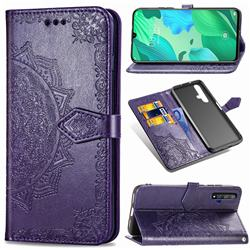 Embossing Imprint Mandala Flower Leather Wallet Case for Huawei Nova 5 / Nova 5 Pro - Purple