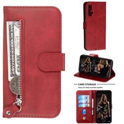 Retro Luxury Zipper Leather Phone Wallet Case for Huawei Nova 5 / Nova 5 Pro - Red