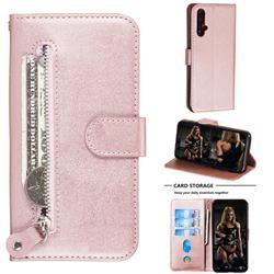 Retro Luxury Zipper Leather Phone Wallet Case for Huawei Nova 5 / Nova 5 Pro - Pink