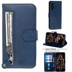 Retro Luxury Zipper Leather Phone Wallet Case for Huawei Nova 5 / Nova 5 Pro - Blue