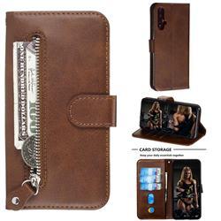 Retro Luxury Zipper Leather Phone Wallet Case for Huawei Nova 5 / Nova 5 Pro - Brown