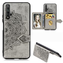 Mandala Flower Cloth Multifunction Stand Card Leather Phone Case for Huawei Nova 5 / Nova 5 Pro - Gray