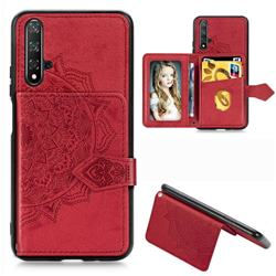 Mandala Flower Cloth Multifunction Stand Card Leather Phone Case for Huawei Nova 5 / Nova 5 Pro - Red