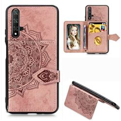 Mandala Flower Cloth Multifunction Stand Card Leather Phone Case for Huawei Nova 5 / Nova 5 Pro - Rose Gold