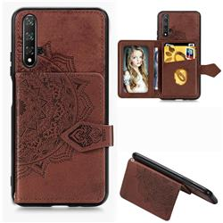 Mandala Flower Cloth Multifunction Stand Card Leather Phone Case for Huawei Nova 5 / Nova 5 Pro - Brown