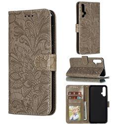 Intricate Embossing Lace Jasmine Flower Leather Wallet Case for Huawei Nova 5 / Nova 5 Pro - Gray