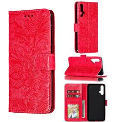 Intricate Embossing Lace Jasmine Flower Leather Wallet Case for Huawei Nova 5 / Nova 5 Pro - Red