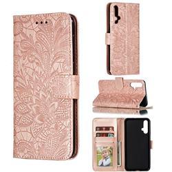 Intricate Embossing Lace Jasmine Flower Leather Wallet Case for Huawei Nova 5 / Nova 5 Pro - Rose Gold