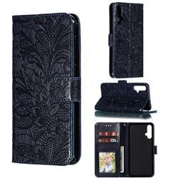 Intricate Embossing Lace Jasmine Flower Leather Wallet Case for Huawei Nova 5 / Nova 5 Pro - Dark Blue