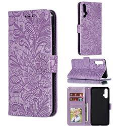 Intricate Embossing Lace Jasmine Flower Leather Wallet Case for Huawei Nova 5 / Nova 5 Pro - Purple