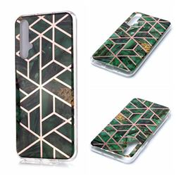 Green Rhombus Galvanized Rose Gold Marble Phone Back Cover for Huawei nova 5T