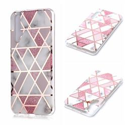 Pink Rhombus Galvanized Rose Gold Marble Phone Back Cover for Huawei nova 5T